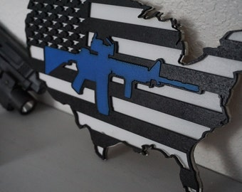 Thin blue line - AR 15 - Patriotic - America - 'Murica - 2nd Amendment - I got your six - United States - Sign