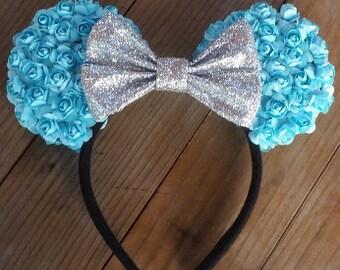 Light Blue Floral Ears