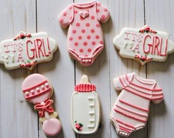 Girl Baby Shower Cookies - 1 Dozen