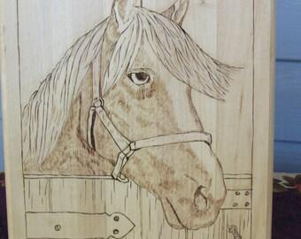 Horse in stall woodburning art, wood wall art, western horse artwork, western decor, ranch decor