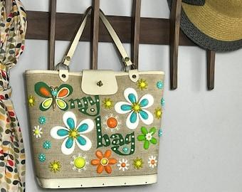 Enid Collins - Handbag - MY BAG - 1970s - Designer - Collins of Texas - Bucket Bag - Vintage - BoHo - Hippie - Jeweled - Beaded - Flowers
