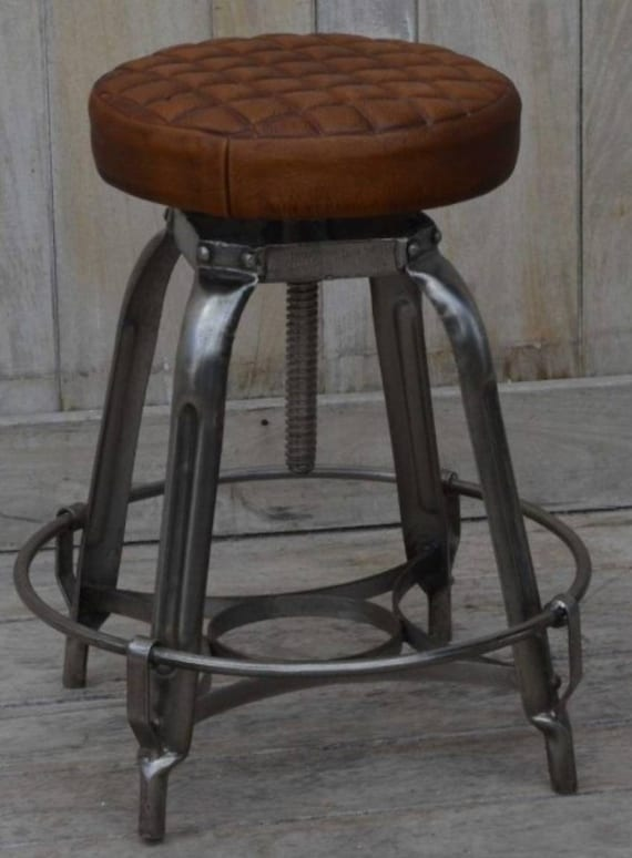 Cool Industrial Style Adjustable Leather Kitchen Bar Stool Beatyapartments Chair Design Images Beatyapartmentscom