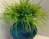 Textured Blue Ceramic Vase with faux grass