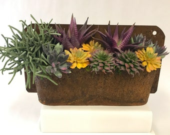 Rust Wall Planter with Purple Agave
