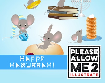 Hanukkah Mouse Clip Art: Digital or Printable for Scrapbooks, Party Invites, Decor, Crafts, Card Making, Small Gift Wrap,  & More!