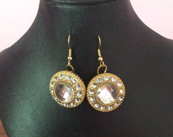 Gold crystal button earrings, crystal, earrings, button, Made in Canada, Jewelry, Laska Boutique