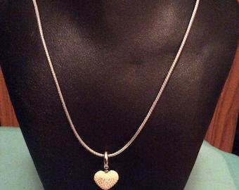 White Swarovski crystal heart pendant necklace, Swarovski heart, Swarovski pendant, Swarovski necklace, Laska Boutique necklace,