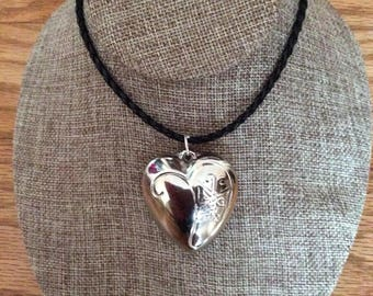 Big silver plated heart pendant necklace, puffy heart, Made in Canada, jewelry, handmade, Laska Boutique