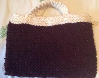 Handmade knitted handbag, knit handbag, handmade handbag, Laska Boutique handbag, made in Canada handbag, glittery handbag