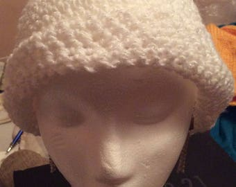 White crochet winter beanie hat, winter hats, Made in Canada, hats, adult hats, Laska Boutique