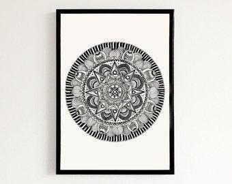 Star Mandala - Hand drawn art print