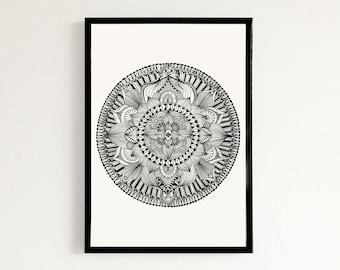 Lotus Flower Mandala - Hand drawn art print