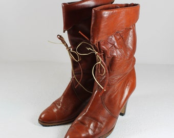 a609f501f0e1 Vintage Brown Leather Mid Calf Heeled Boots Women s 7 Fold Over Tie Boho