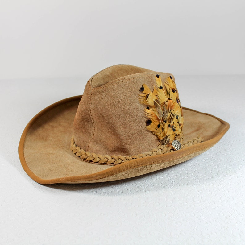 Suede Cowboy Hat with Indian Nickel and Feathers Unisex Large  318bf9900c1e
