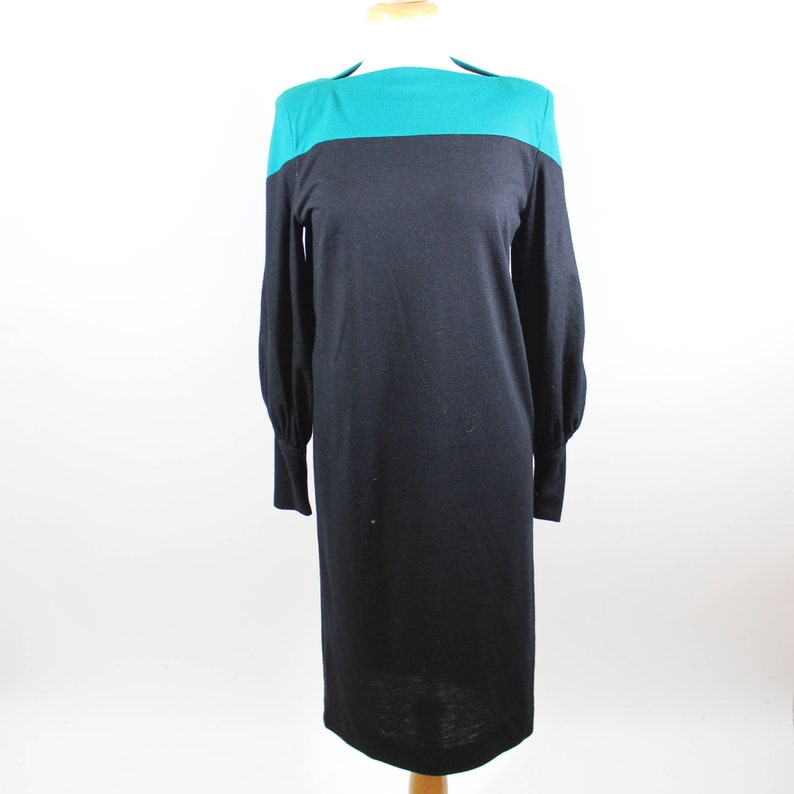 Vintage Boatneck Sweater Midi Dress Women's Medium Black Teal by The  Kollection