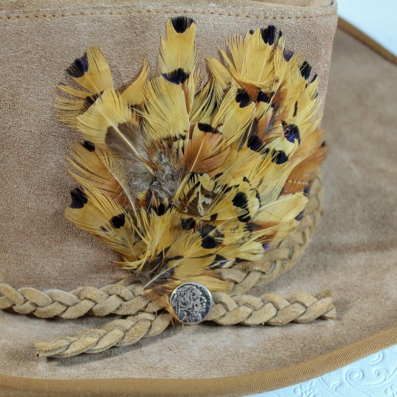 01ae383ae5b Suede Cowboy Hat with Indian Nickel and Feathers Unisex Large