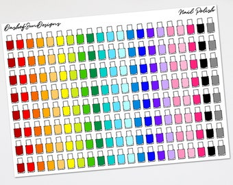 Multi Color Nail Polish  | Planner Stickers