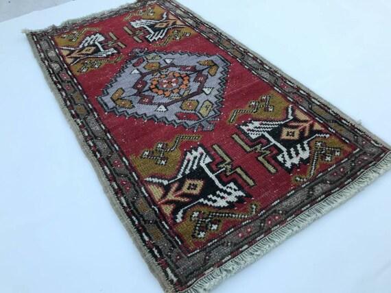 Small Oushak Rug Hand-Made Free Shipping Vintage Rug Size; 1.4\u00d72.8ft. Mini Turkish Rug Bohemian Anatolian Kilim Natural Wool