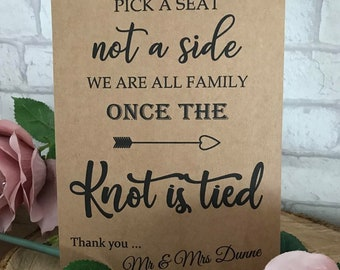 e04b93a92fc448 Personalised Pick a Seat Knot is Tied Wedding Table Sign Post A4 A5 Seating  Plan