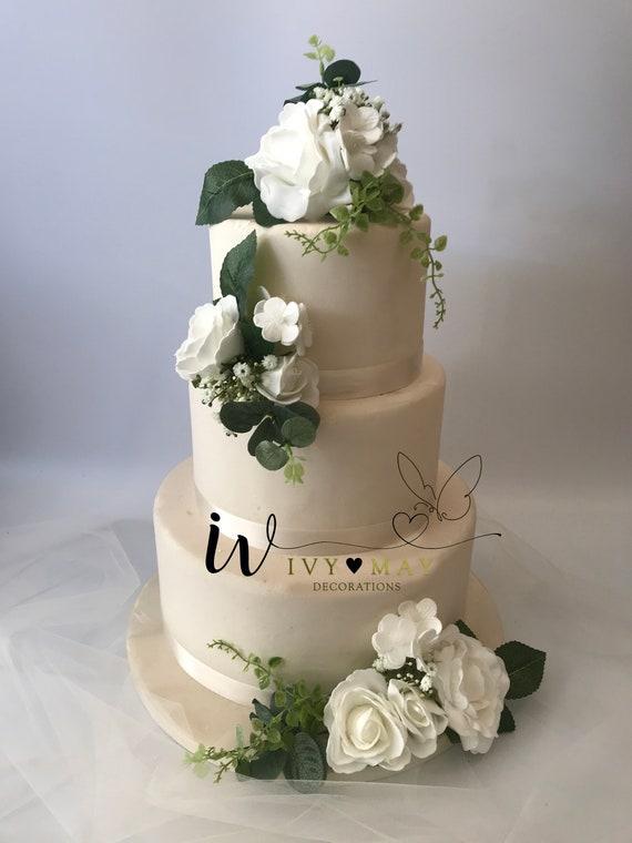 FULL SET Wedding Christening Cake Flower Arrangement Topper /& Decorations Roses