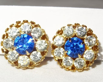 Vintage Signed CORO Clip Earrings, Large Blue Rhinestone surrounded by 8 Clear
