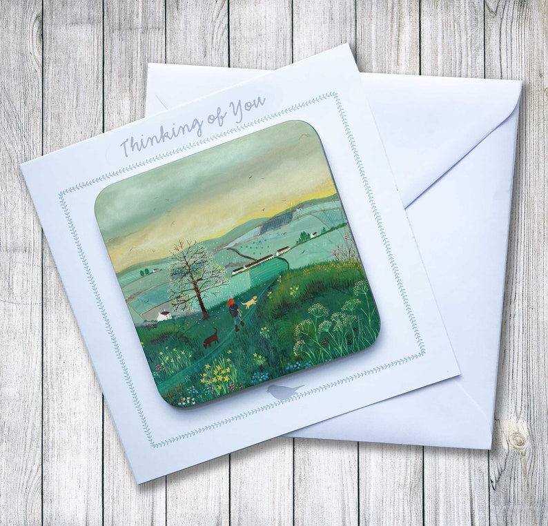 Coaster Art on a Card Perfect Letterbox Gift featuring Early Start from an original painting by Caroline Smith
