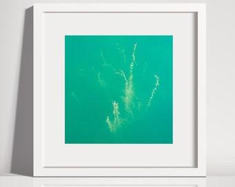 Lakewhispers - green Lake, photo print, square