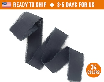 """Dark gray Ribbon 1"""" inch Hand dyed frayed edges cotton silk Wedding invitation tie Wax stamp Gift box wrapping Bridal bouquet floristic tape"""