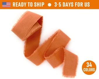 "Rust ribbon 1"" inch Burnt orange color Hand dyed cotton silk Wedding invitation tie Wax stamp supplie Gift box wrap Bridal bouquet Floristic"
