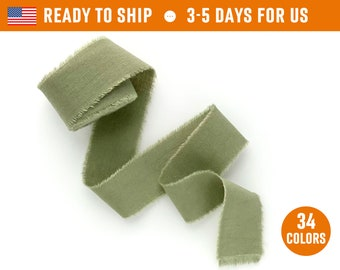 """Olive Ribbon 1"""" inch Hand dyed cotton silk dusty green color Wedding invitation tie Wax stamp supply Gift box wrap Bridal bouquet Floristic"""
