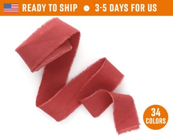 "Redwood Ribbon 1"" inch Hand dyed cotton silk frayed raw edge Wedding invitation tie Wax stamp Gift box wrap Bridal bouquet floristic supplie"