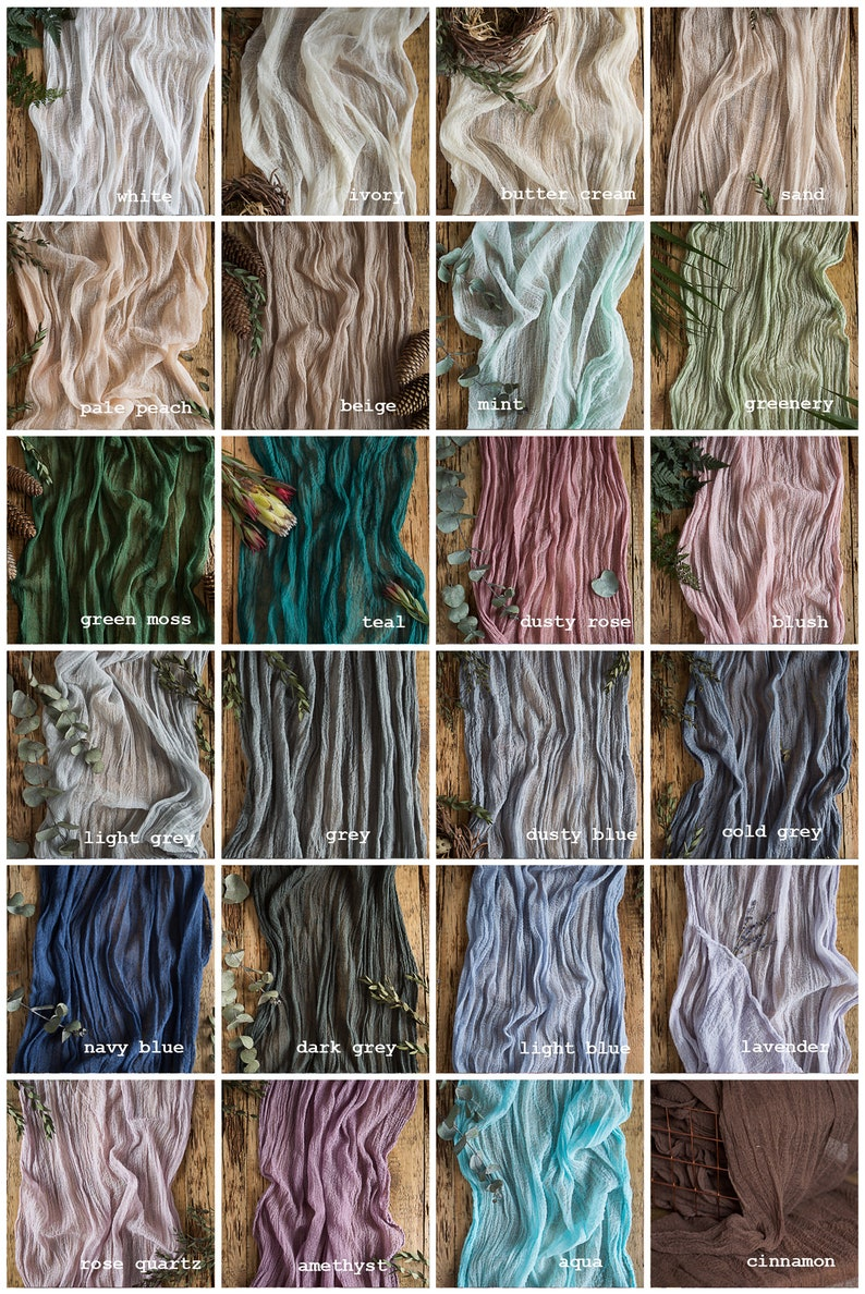 Rustic wedding Gauze runner COLOR SWATCHES Cheesecloth table image 0