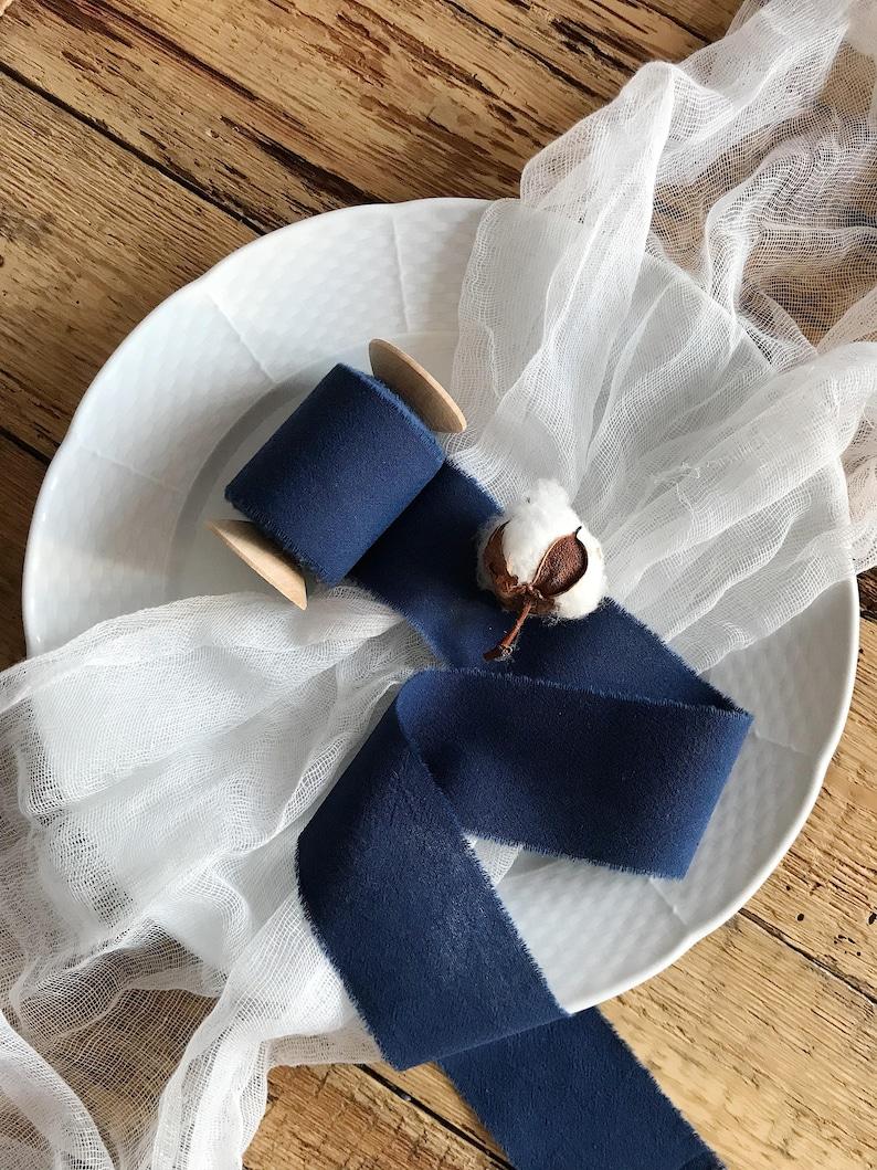 Navy Blue ribbon 2 Hand dyed ribbon navy wrap beach wedding decor centerpieces ribbon bridal bouquet Wedding ribbon Navy Cotton ribbon