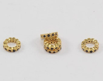 1 Pcs Rondelle Spacer Beads 8mm 24K Shiny Gold Plated Micro Pave Round Zirconia, Round Zirconia, Bracelet Connectors, CZ Space Beads, MMT218