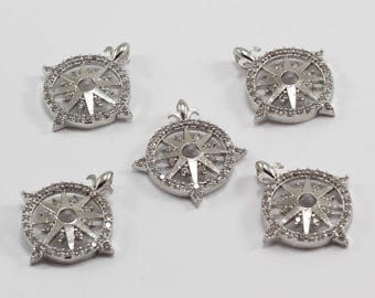 3 Pcs 20x22mm, Silver Plated, Micro Pave Zirconia, Compass, MMT149