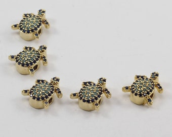 2 Pcs Micro Turtle Beads, Gold Plated, Micro Pave Tortoise Beads, Bracelet Connectors, CZ Space Bead, Cz Pave Women Bracelet, MMT62