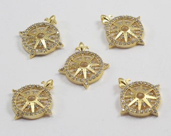 1 Pcs 20x22mm, Gold Plated, Micro Pave Zirconia, Compass, MMT148