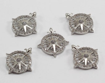 1 Pcs 20x22mm, Silver Plated, Micro Pave Zirconia, Compass, MMT149