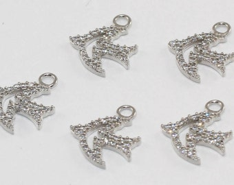 3 Pcs Findings, 15x14mm, Silver Plated, Micro Pave Zirconia, Bird, Bracelet Connectors, CZ Space Beads,  MMT139