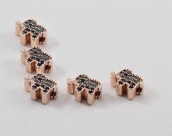 5 Pcs Micro Elephant Beads, Rose Gold Plated, Micro Pave Elephant Beads, Bracelet Connectors, CZ Space Bead, Cz Pave Women Bracelet, MMT68