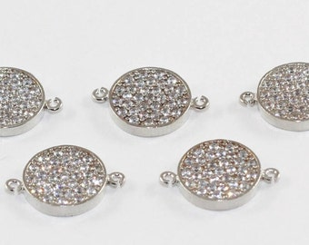 3 Pcs Spacer Beads, 11mm, Rhodium Plated, Micro Pave Round Zirconia, Round Zirconia, Bracelet Connectors, CZ Space Beads,  MMT98