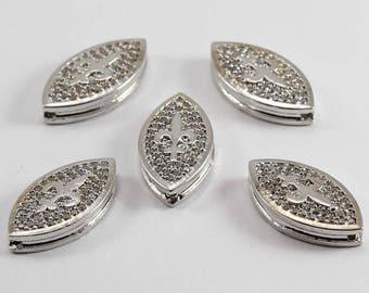 5 Pcs Micro Pave Lily Flower, Silver Plated, Micro Pave Lily, Cubic Zirconia, Bracelet, CZ Space Bead, Cz Pave Women Bracelet, MMT42