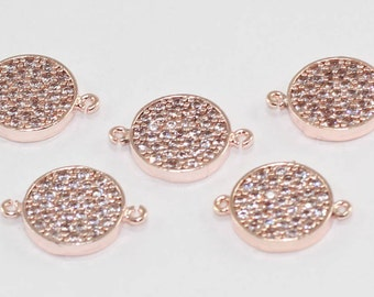 3 Pcs Spacer Beads, 11mm, Rose Gold Plated, Micro Pave Round Zirconia, Round Zirconia, Bracelet Connectors, CZ Space Beads,  MMT96