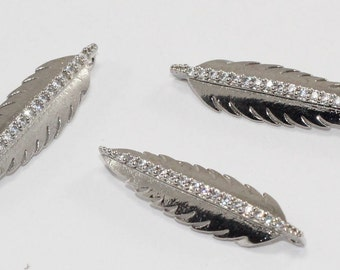3 Pcs Findings, 30x9mm, Rhodium Plated, Micro Pave Zirconia, Feather, Bracelet Connectors, CZ Space Beads,  MMT118