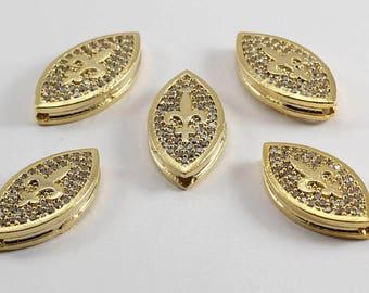 5 Pcs Micro Pave Lily Flower, Gold Plated, Micro Pave Lily, Cubic Zirconia, Bracelet, CZ Space Bead, Cz Pave Women Bracelet, MMT43