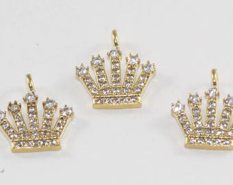 1 Pcs Findings, 17x13mm, Gold Plated, Micro Pave Zirconia, King Crown, Bracelet Connectors, CZ Space Beads,  MMT108