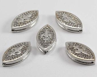 1 Pcs Micro Pave Lily Flower, Silver Plated, Micro Pave Lily, Cubic Zirconia, Bracelet, CZ Space Bead, Cz Pave Women Bracelet, MMT42