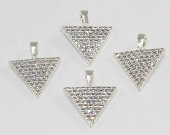 3 Pcs Findings, 20x14mm, Silver Plated, Micro Pave Zirconia, Triangle, Necklace Connectors, CZ Space Beads,  MMT128