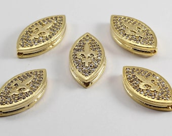 1 Pcs Micro Pave Lily Flower, Gold Plated, Micro Pave Lily, Cubic Zirconia, Bracelet, CZ Space Bead, Cz Pave Women Bracelet, MMT43
