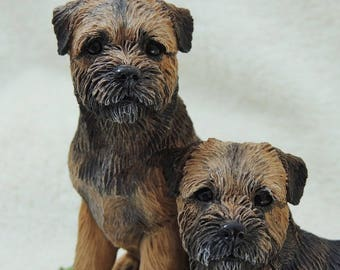 Border Terrier Dog Pair Limited Edition Sculpture Model Statue Figurine Ornament